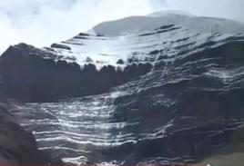 Mystical Black Stone Mountain Kailasha With Snow Cover (like giving Shiva a holy Abhishek/bath)