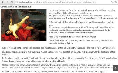 Hindu God Agni : Greek myth of Prometheus of Fire has similarity. Photo: Booksfact.com