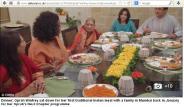 Oprah Winfrey having Indian style meal with an Indian family@ Mumbai