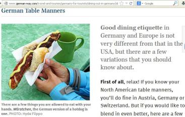 Eat specific German foods with hands