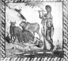 """Hindu God Krishna playing flute in his crossed-leg style in forest. """"A Pastoral Scene"""" from the 2nd century AD exiited at museum in Corinth, 60 Km from Athens (Greece)"""