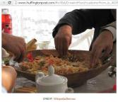 Middle East style of eating food in same dish together with family/friends/relatives...