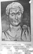 U shaped mark on forehead (Tilak) -Painting of Pompey the Great (Gnaeus Pompeius Magnus (official nomenclature CN·POMPEIVS·CN·F·SEX·N·MAGNVS; 29 September 106 BC – 28 September 48 BC) photo:booksfact.com like Vishnu devotees