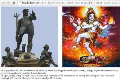 "Greek God Neptune Poseidon is similar to ""Dance of Lord Shiva-Nataraja pose"" with Demon at Feet & Trident (Trishul)..Photo: Booksfact.com"