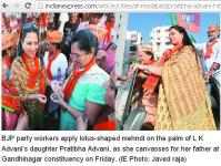 innovative campaign: Woman supporters put free Mehandi /Heena tatoo with party symbol and slogan