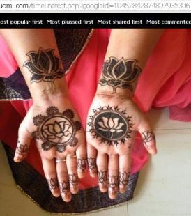 Women put Mehandi/Heena (Temporary Tatoo) with party symbol and slogan