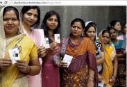 Celebrating festival of Election: Ladies Queue outside voting booth