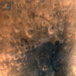 ISRO's Mars Orbiter Mission captures its first image of Mars from height of 7300 km; with 376 m spatial resolution. 25-Sept-2014..Photo: ISRO-Govt of India