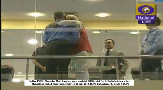 no protocol today.....PM Modi hugging ISRO chif after victory :)