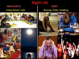 ~ Night Life: Boozing in West Vs Family Dinner in India