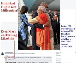 ~ Photo of Millennium: Historical Hug of Narendra Modi and Barack Obama