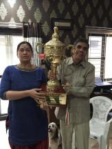Proud Parents...Saina's Mother and Father with her trophy