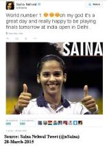 Saina Tweets about her new World-No 1ranking 28-march-2015