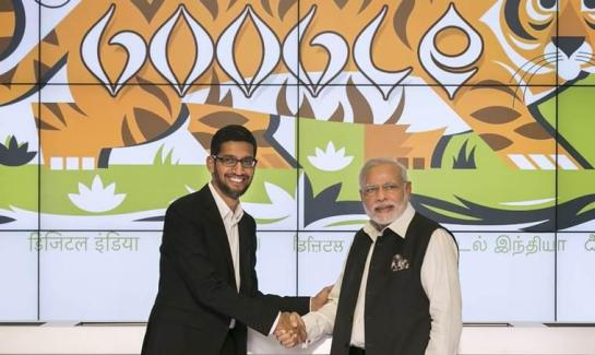 India's Prime Minister Narendra Modi shakes hands with Google CEO Sundar Pichai at the Google campus in Mountain View, California