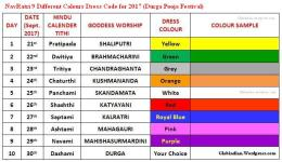 NavRatri 2017 Dress Colours List – 9 Dress Code Colors for Nine Days Durga Pooja Festival